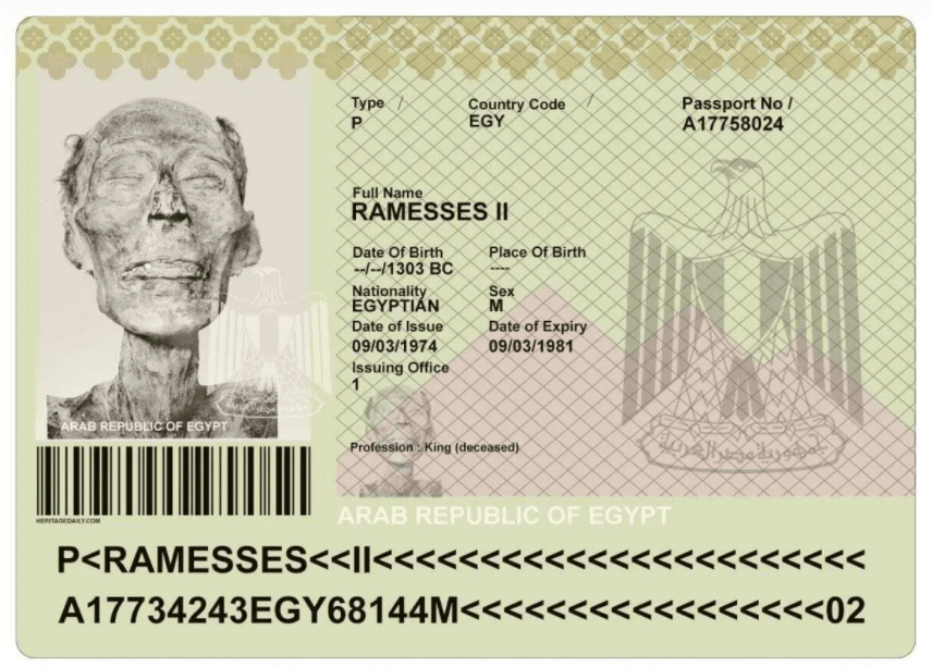 The passport of Ramesses